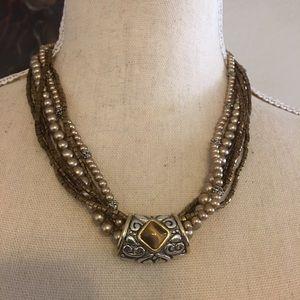 Vintage Park Lane multi strand necklace tigers eye